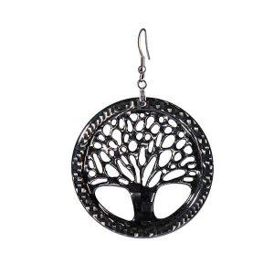 Carbon Fiber Earrings Small Tree of Life High Gloss