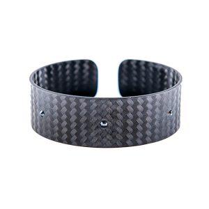 Carbon Fiber Big Bracelet with Black Stones from Swarovski