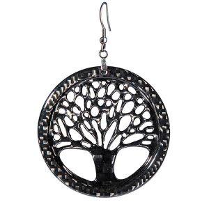 Carbon Fiber Earrings Big Tree of Life High Gloss