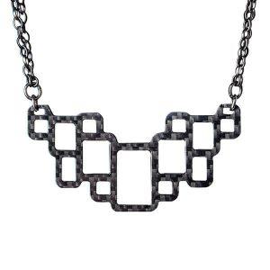 Carbon fiber necklace Geometric gloss