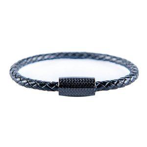 Carbon Fiber Bracelet Black Single Leather