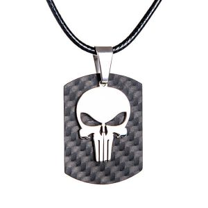 Carbon fiber tag with stainless stell skull