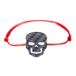 Carbon Fiber Red String Bracelet Skull