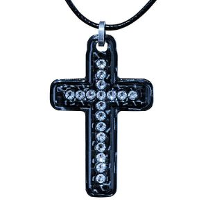 Carbon fiber solid cross with Crystals from Swarovski