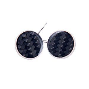 Carbon Fiber Earrings Circle Black