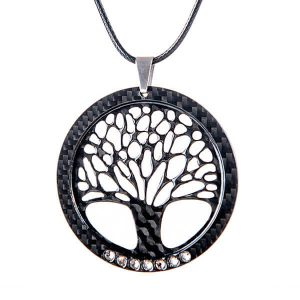 Carbon fiber pendant Tree of life with crystals from Swarovski