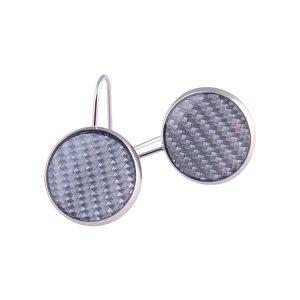 Carbon Fiber Earrings Circle Silver