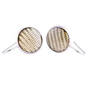 Carbon Fiber Earrings Circle Yellow