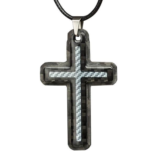 Carbon fiber blue cross pendant