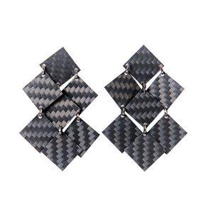 Carbon Fiber Earrings Diamonds