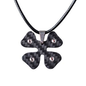 Carbon fiber pendant Clover with white crystals from Swarovski