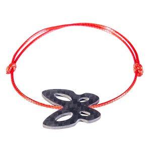 Carbon Fiber Red String Bracelet Butterfly String