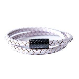 Carbon Fiber Bracelet White Double Leather