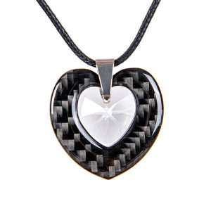 Carbon fiber pendant double heart with white crystal from swarovski
