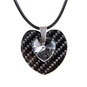 Carbonn fiber pendant Double Heart with crystal from Swarovski