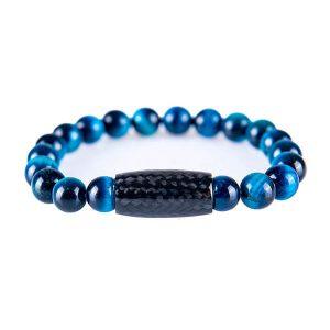 Carbon Fiber Bracelet Tiger`s Eye Blue