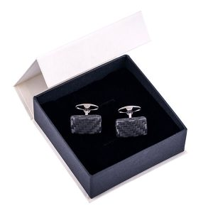 Jewelry box with pair of carbon fiber cufflinks matte