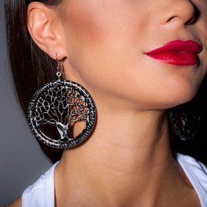 Girl with Earrings_Carbon_Fiber_Big_Tree_of_Life_Earrings_High_Gloss2_zakcode