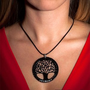 Girl with Carbon fiber necklace Big tree of life with crystals from swarovski