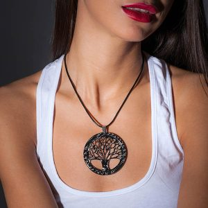 Girl with Necklace_Carbon_Fiber_Big_Tree_of_Life_Pendant_High_Gloss