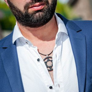Man with Carbon fiber necklace Black super star with three crystals from swarovski
