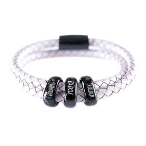 Carbon Fiber Personalized Bracelet Double White Leather with three personalized carbon fiber beads